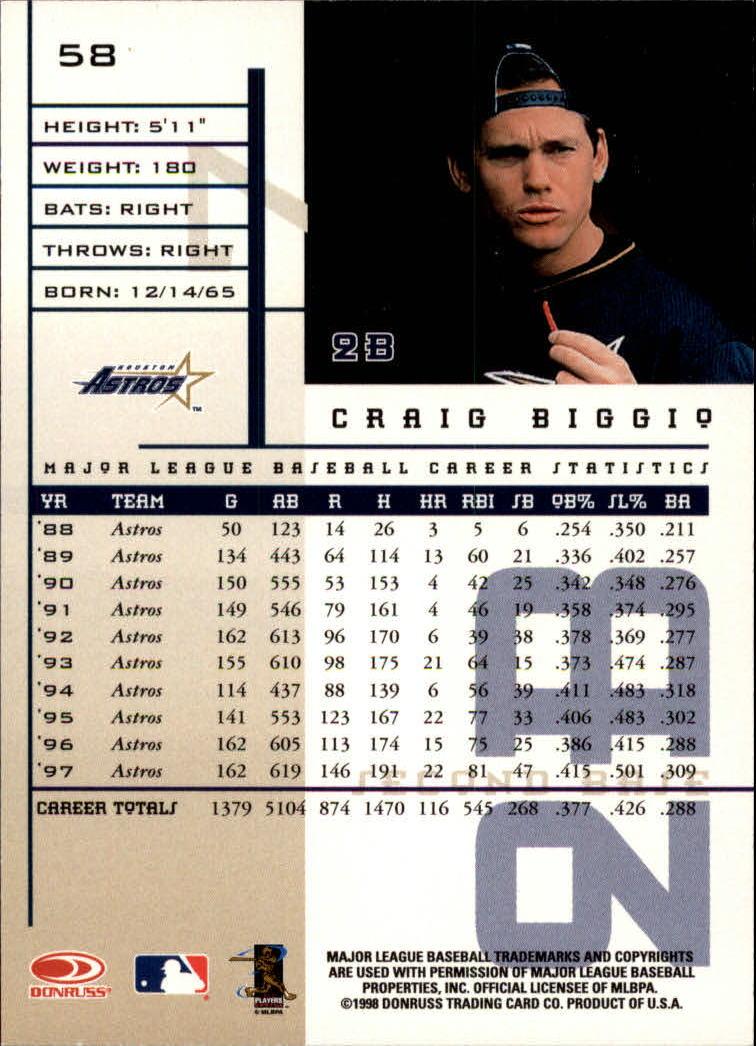 1998 Leaf Rookies and Stars #58 Craig Biggio back image