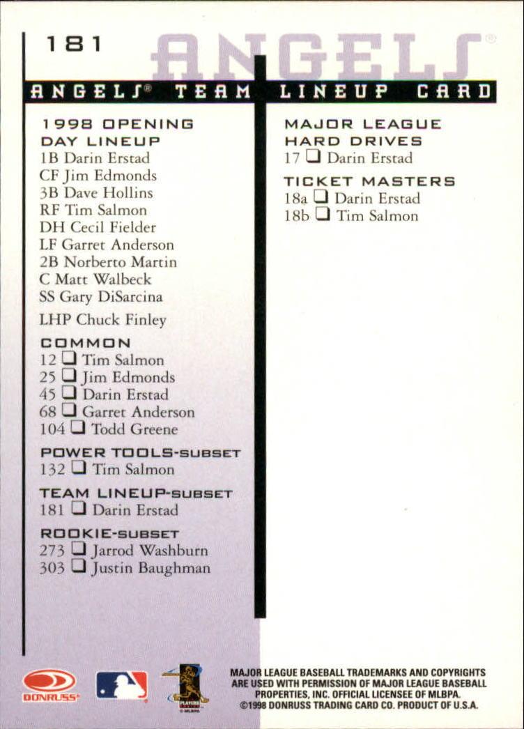 1998 Leaf Rookies and Stars #181 Darin Erstad TLU SP back image