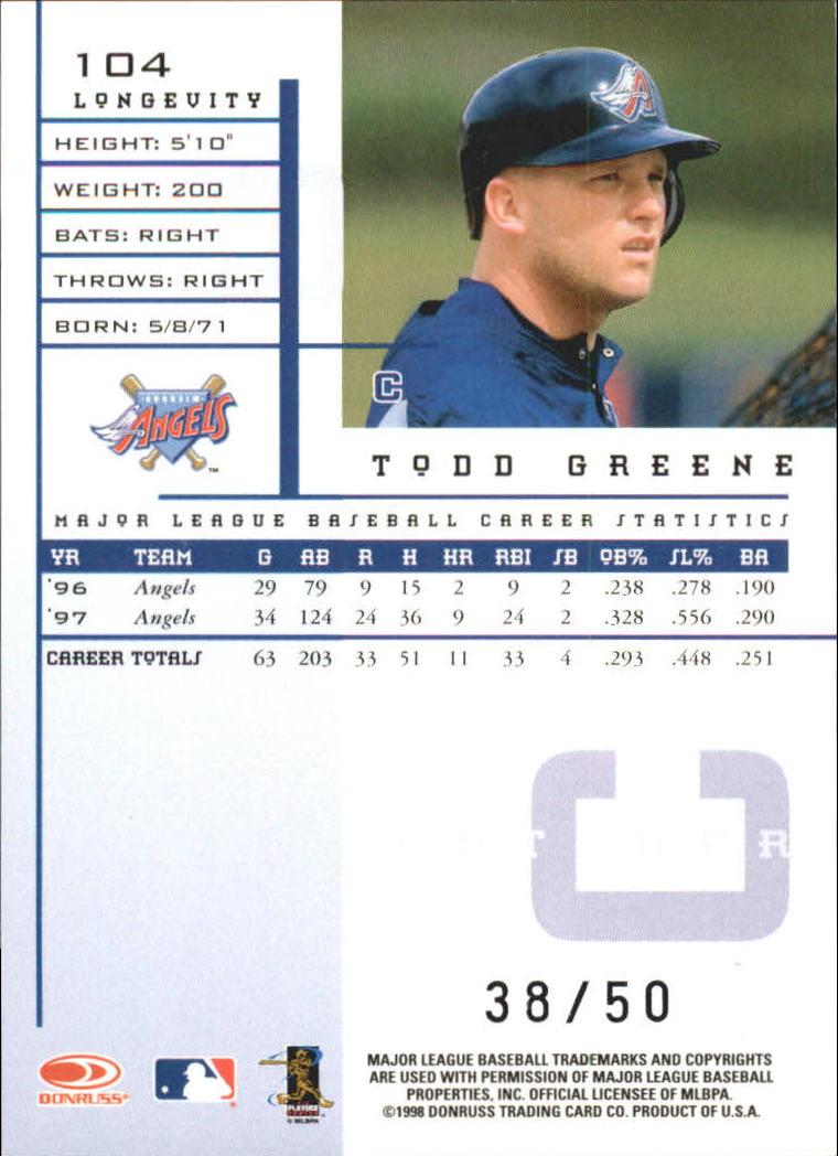 1998 Leaf Rookies and Stars Longevity #104 Todd Greene back image