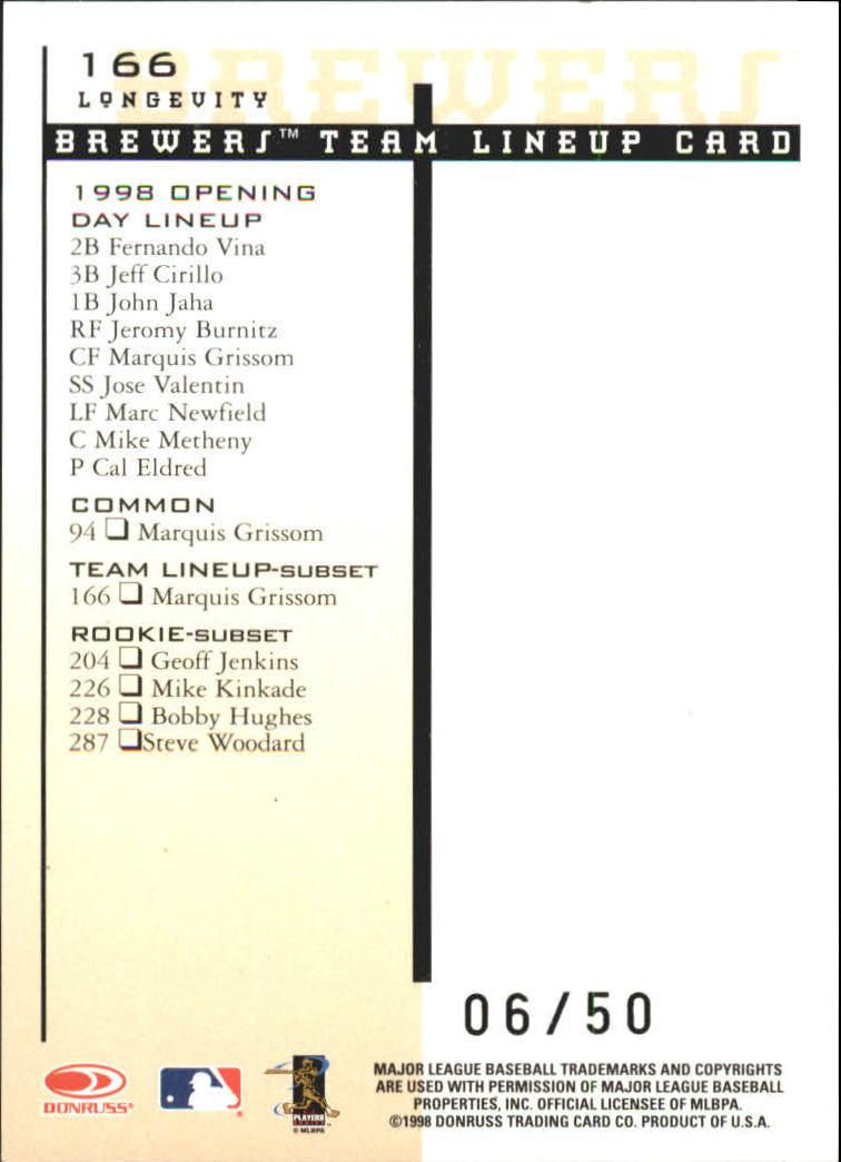 1998 Leaf Rookies and Stars Longevity #166 Marquis Grissom TLU back image