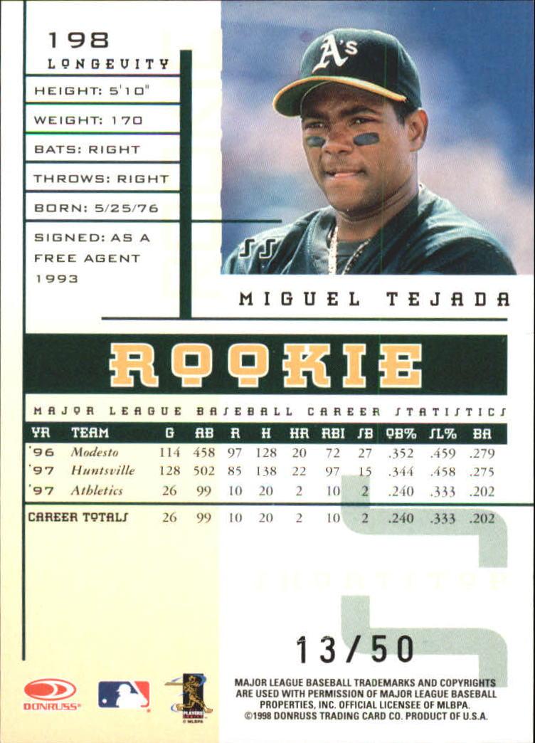 1998 Leaf Rookies and Stars Longevity #198 Miguel Tejada back image