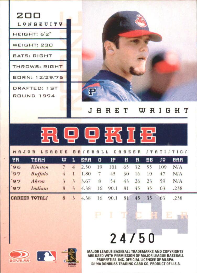 1998 Leaf Rookies and Stars Longevity #200 Jaret Wright back image