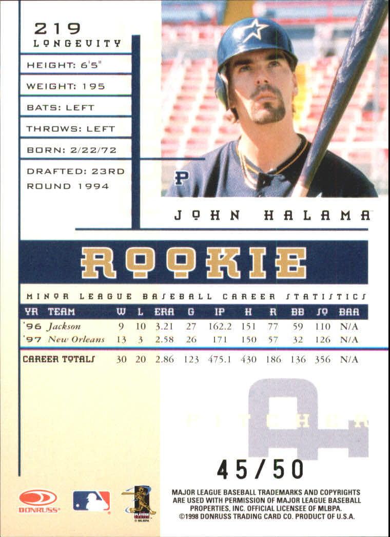 1998 Leaf Rookies and Stars Longevity #219 John Halama back image