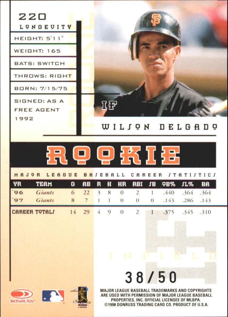 1998 Leaf Rookies and Stars Longevity #220 Wilson Delgado back image