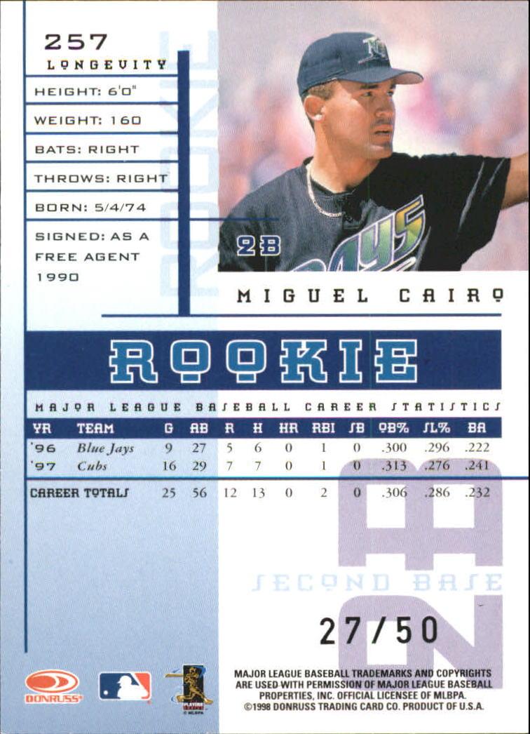 1998 Leaf Rookies and Stars Longevity #257 Miguel Cairo back image