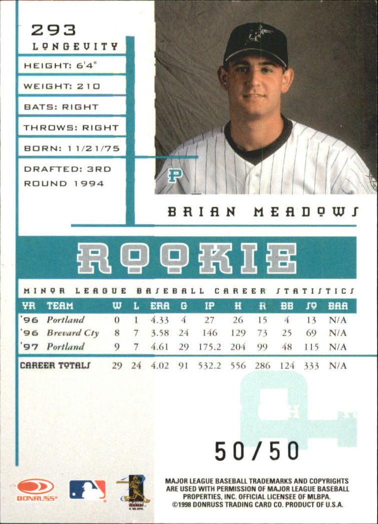 1998 Leaf Rookies and Stars Longevity #293 Brian Meadows back image