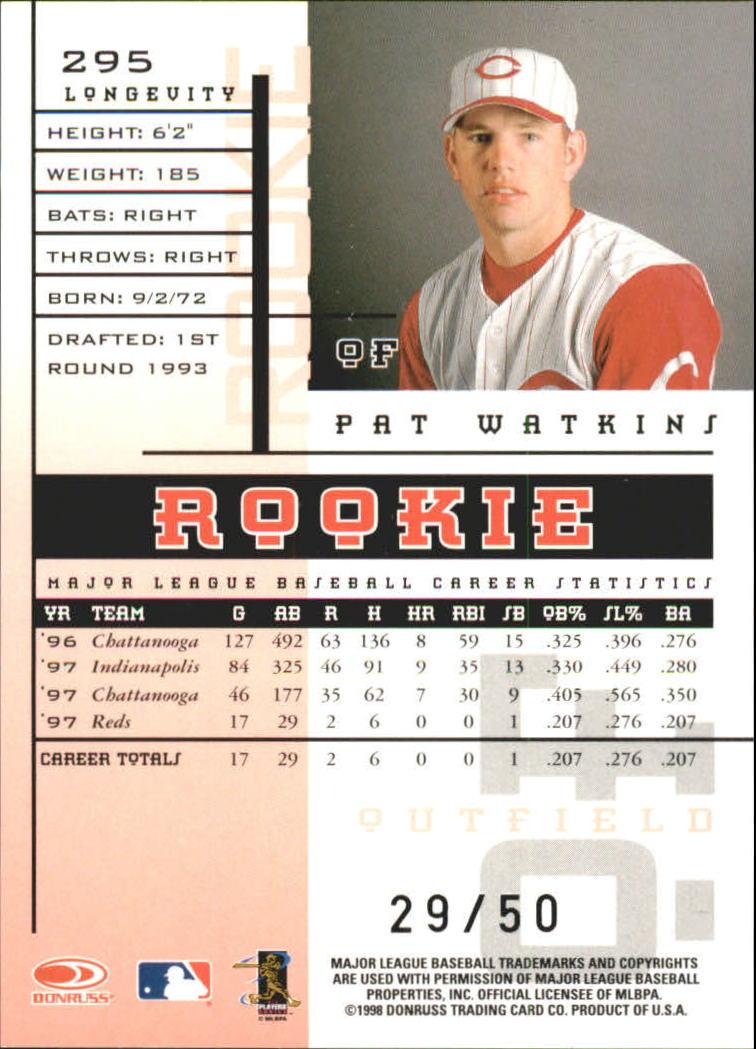 1998 Leaf Rookies and Stars Longevity #295 Pat Watkins back image