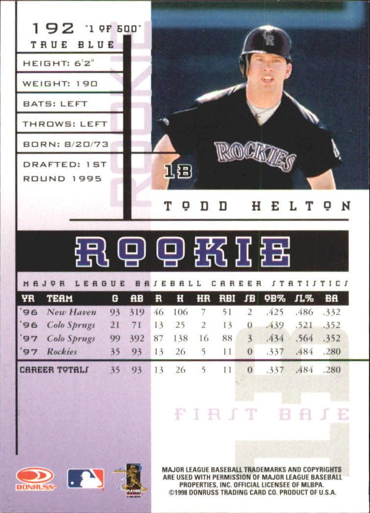 1998 Leaf Rookies and Stars True Blue #192 Todd Helton back image