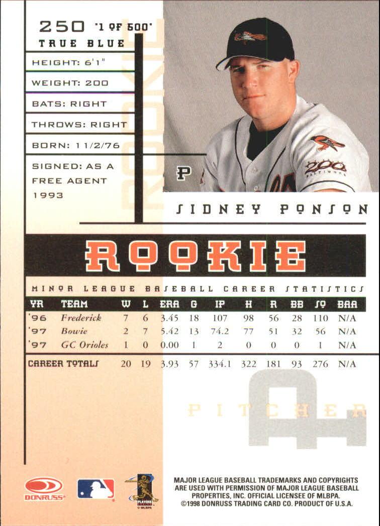 1998 Leaf Rookies and Stars True Blue #250 Sidney Ponson back image
