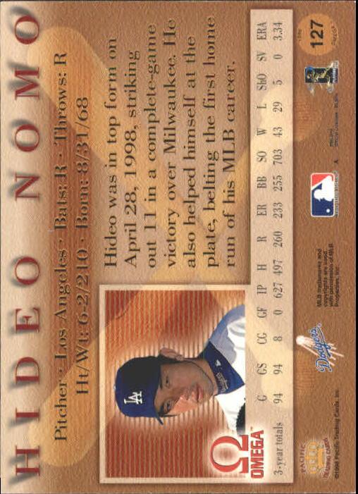 1998 Pacific Omega #127 Hideo Nomo back image