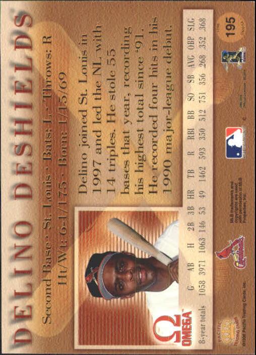 1998 Pacific Omega #195 Delino DeShields back image