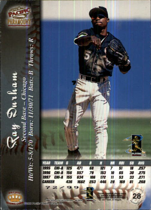 1998 Paramount Holographic Silver #28 Ray Durham back image