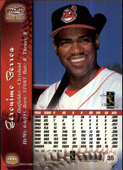 1998 Paramount Holographic Silver #35 Geronimo Berroa back image