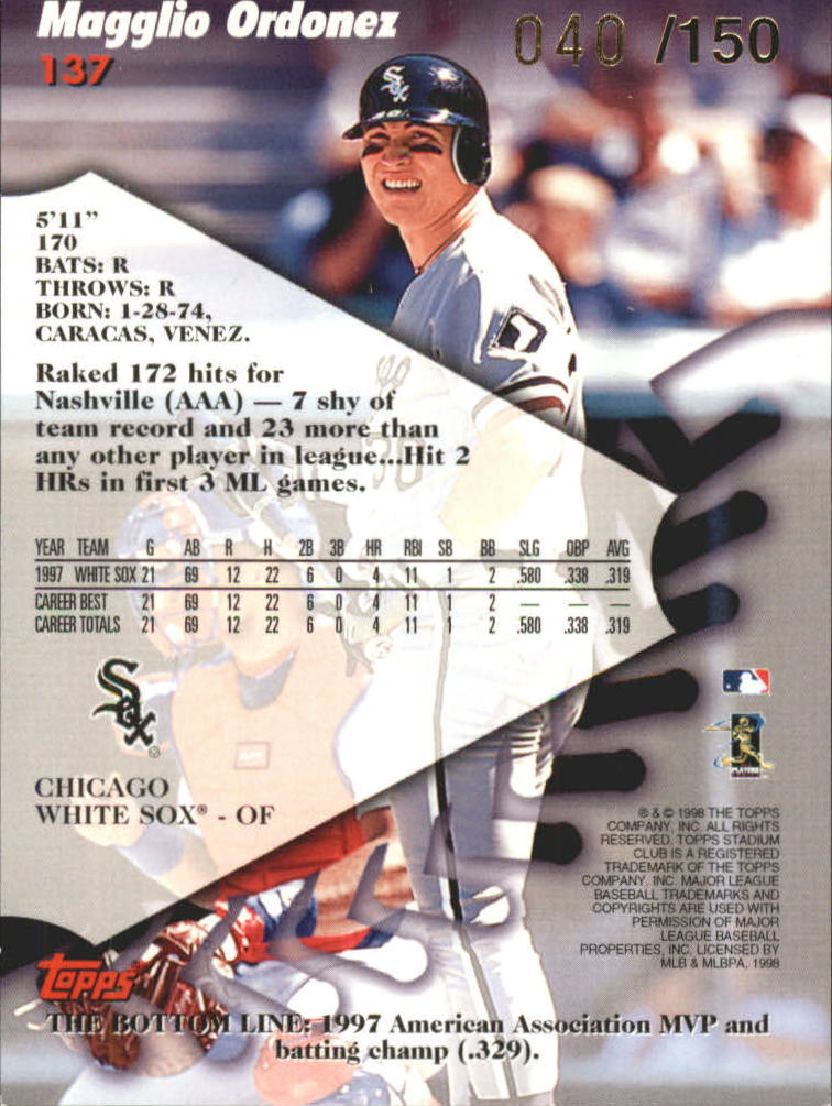 1998 Stadium Club One Of A Kind #137 Magglio Ordonez back image