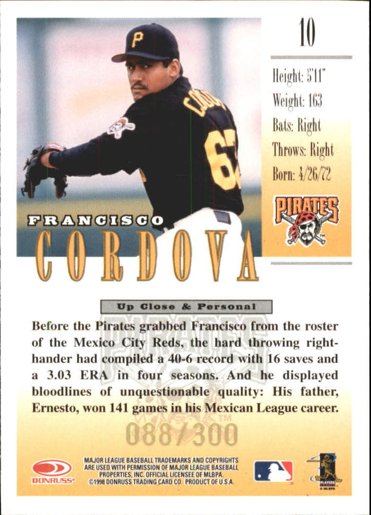 1998 Studio Gold Press Proofs #10 Francisco Cordova back image