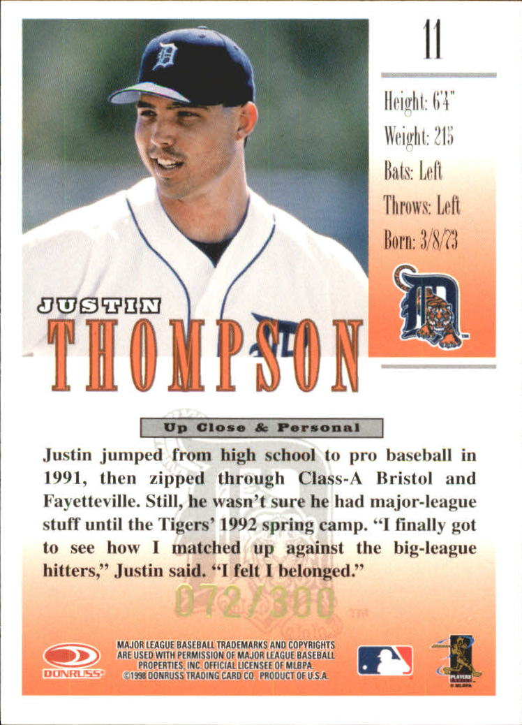 1998 Studio Gold Press Proofs #11 Justin Thompson back image