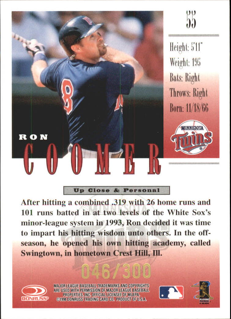 1998 Studio Gold Press Proofs #55 Ron Coomer back image