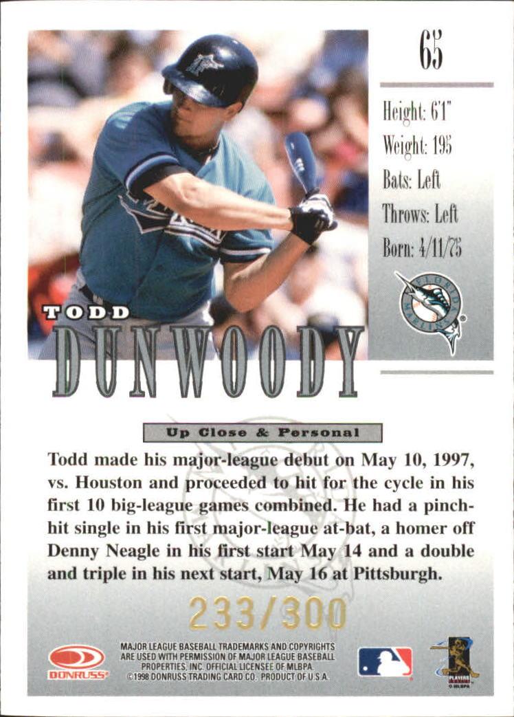 1998 Studio Gold Press Proofs #65 Todd Dunwoody back image
