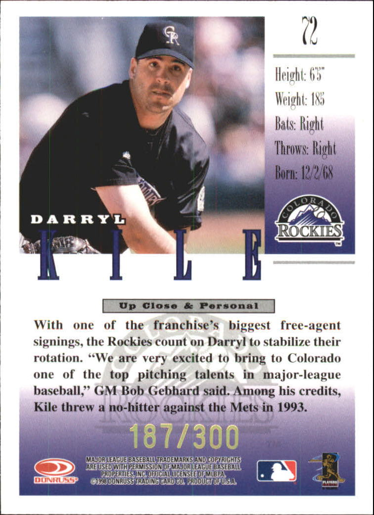 1998 Studio Gold Press Proofs #72 Darryl Kile back image