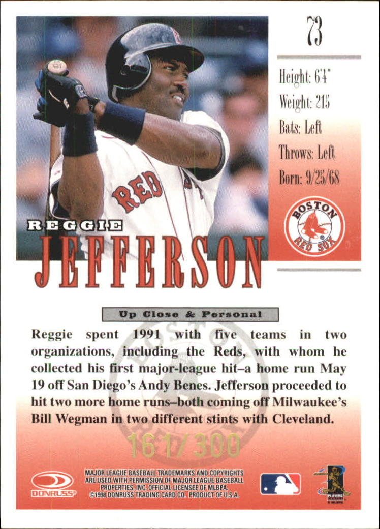 1998 Studio Gold Press Proofs #73 Reggie Jefferson back image