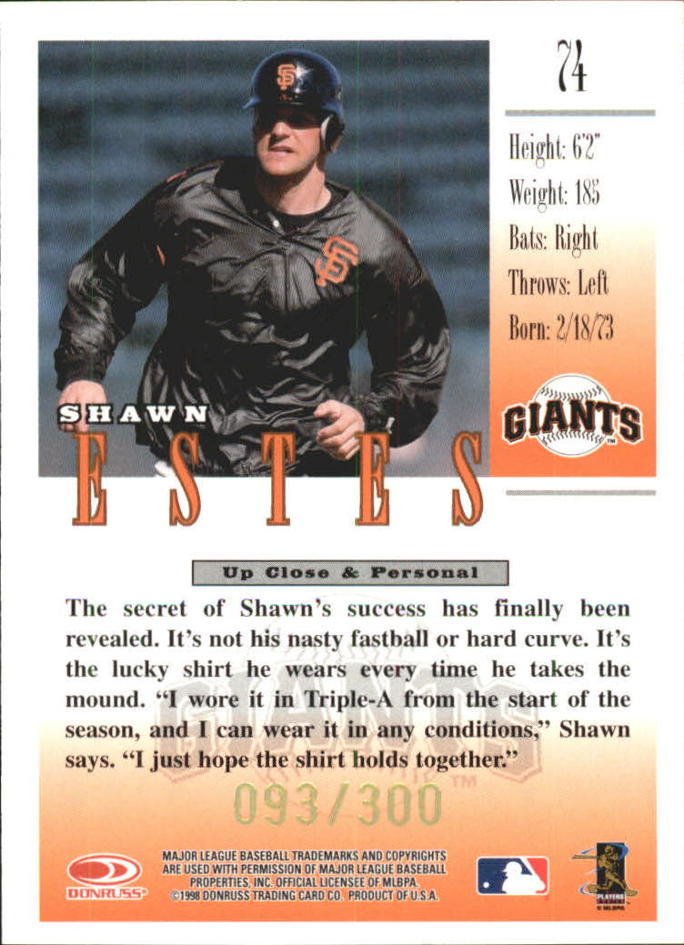 1998 Studio Gold Press Proofs #74 Shawn Estes back image