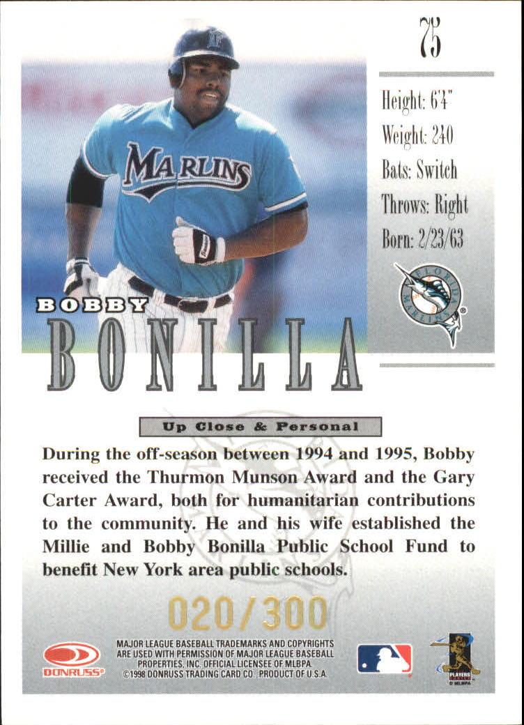 1998 Studio Gold Press Proofs #75 Bobby Bonilla back image