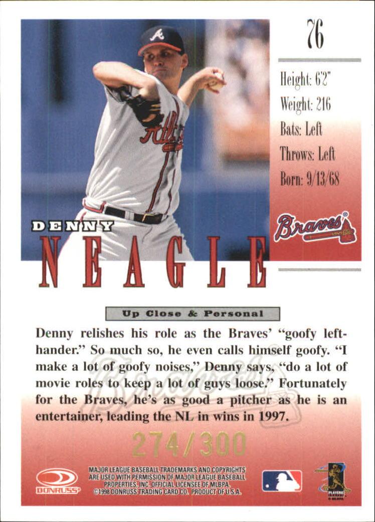 1998 Studio Gold Press Proofs #76 Denny Neagle back image