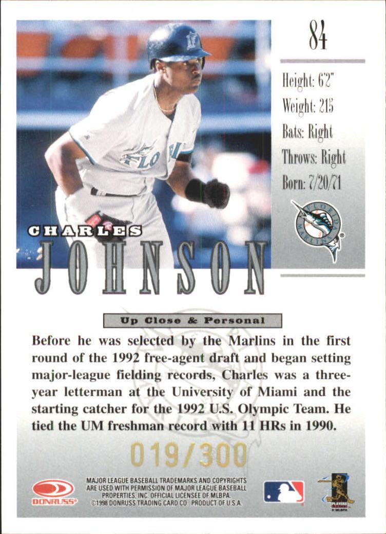 1998 Studio Gold Press Proofs #84 Charles Johnson back image