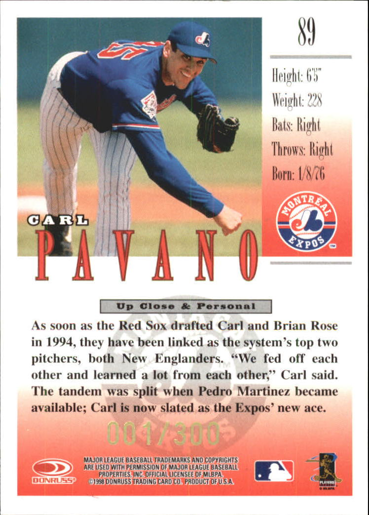 1998 Studio Gold Press Proofs #89 Carl Pavano back image