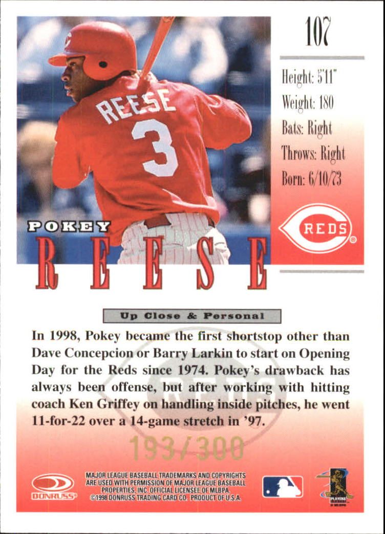 1998 Studio Gold Press Proofs #107 Pokey Reese back image