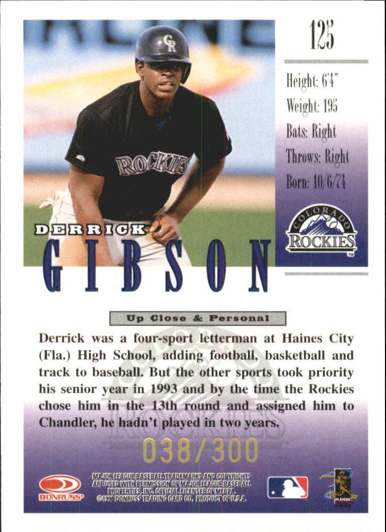 1998 Studio Gold Press Proofs #125 Derrick Gibson back image