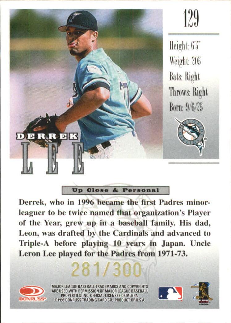 1998 Studio Gold Press Proofs #129 Derrek Lee back image
