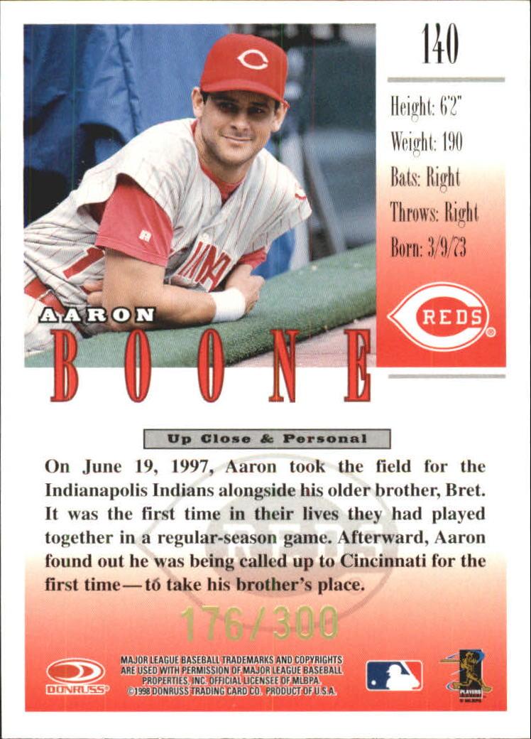 1998 Studio Gold Press Proofs #140 Aaron Boone back image