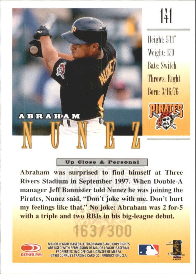 1998 Studio Gold Press Proofs #141 Abraham Nunez back image