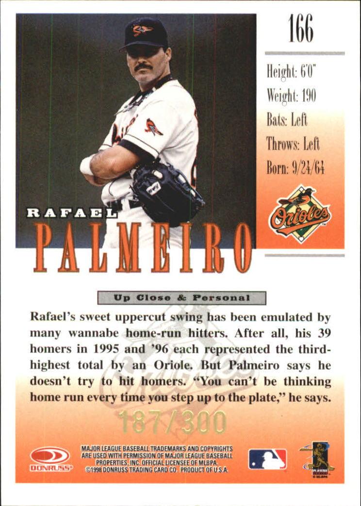 1998 Studio Gold Press Proofs #166 Rafael Palmeiro back image