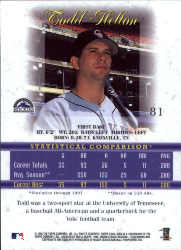 1998 Topps Gold Label Class 1 #81 Todd Helton back image