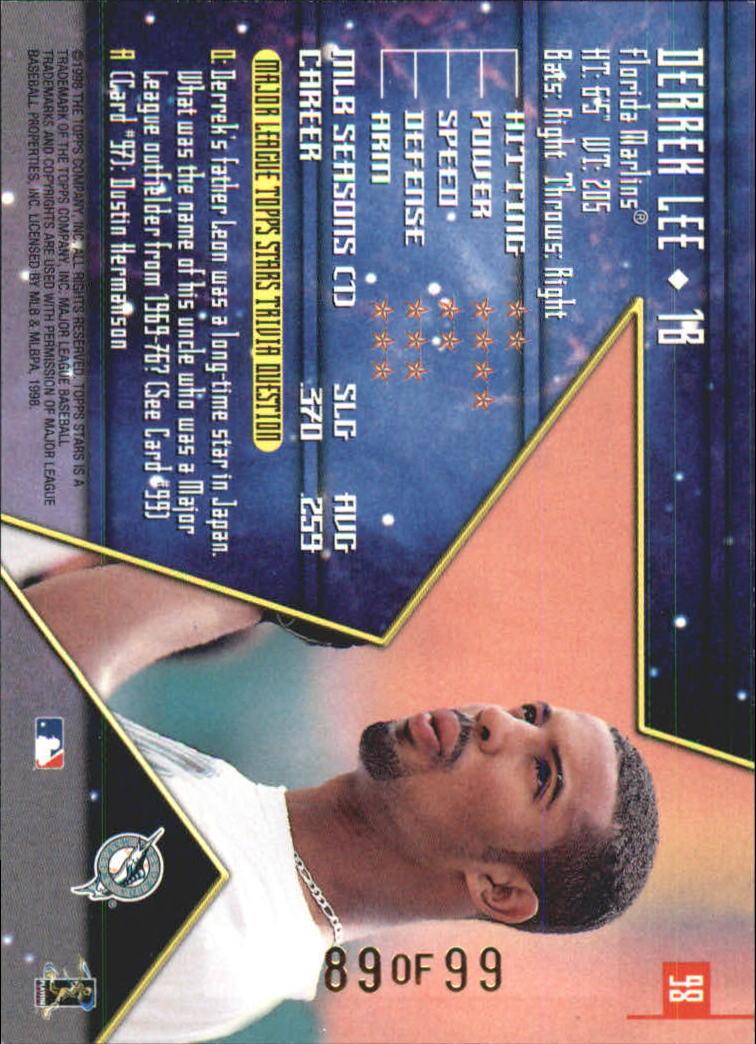 1998 Topps Stars Gold Rainbow #98 Derrek Lee back image