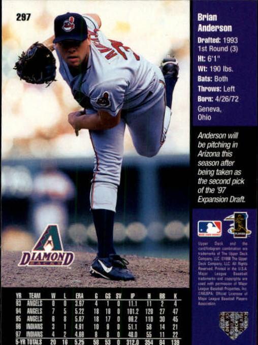 1998 Upper Deck #297 Brian Anderson back image