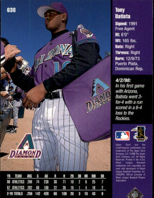 1998 Upper Deck #638 Tony Batista back image