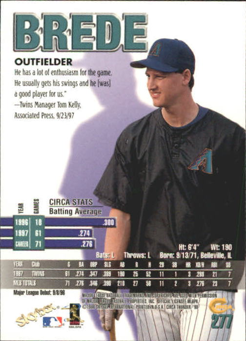 1998 Circa Thunder #277 Brent Brede back image