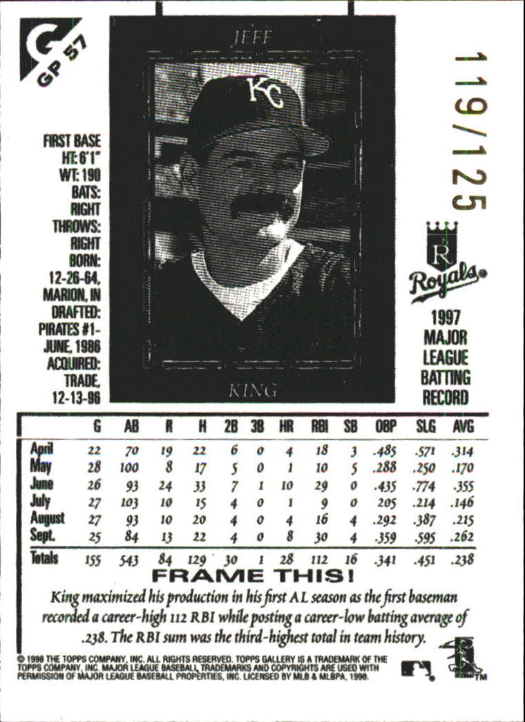 1998 Topps Gallery Gallery Proofs #57 Jeff King back image