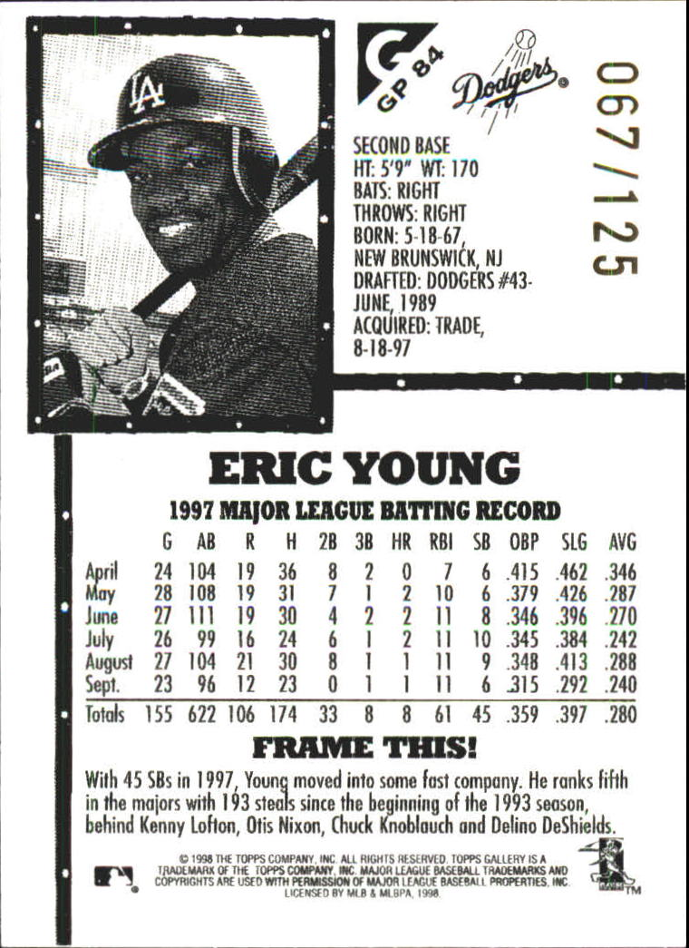 1998 Topps Gallery Gallery Proofs #84 Eric Young back image