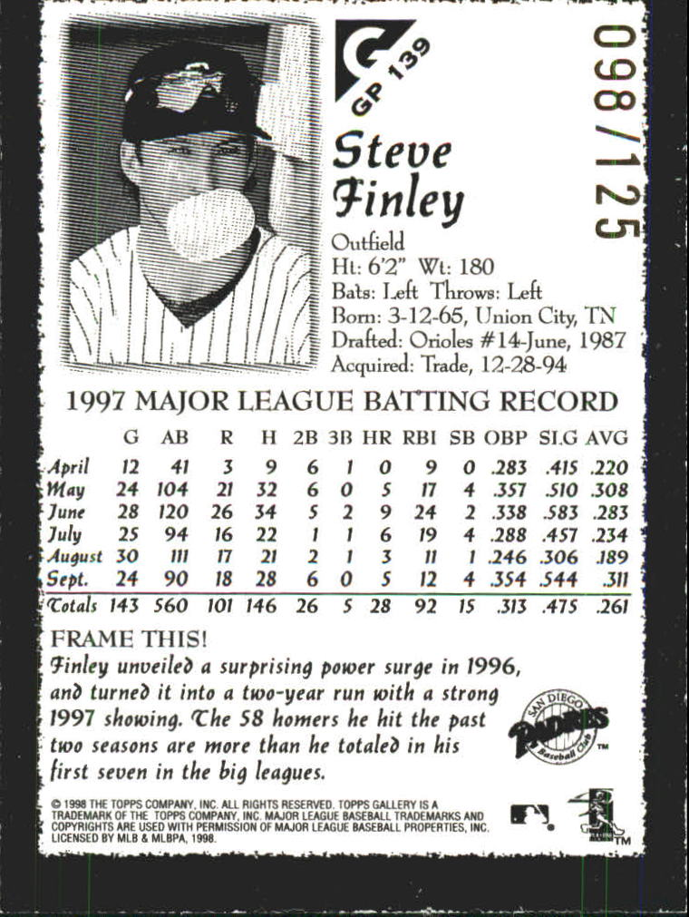 1998 Topps Gallery Gallery Proofs #139 Steve Finley back image