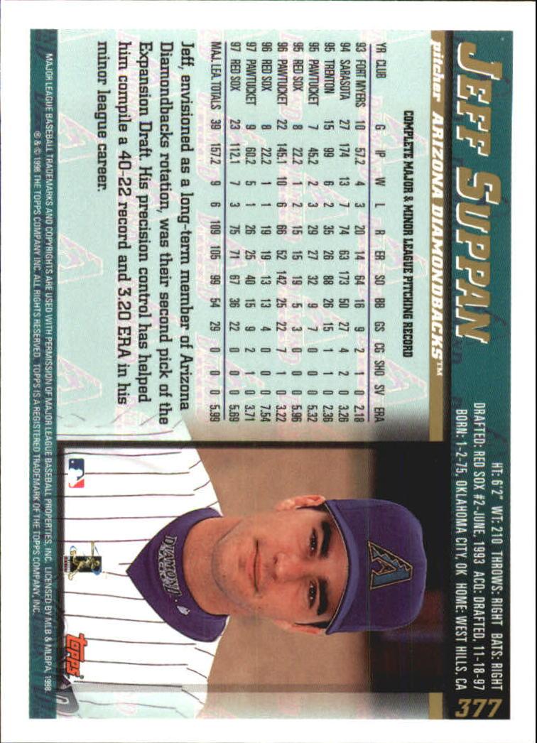 1998 Topps #377 Jeff Suppan back image