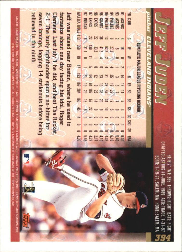 1998 Topps #394 Jeff Juden back image