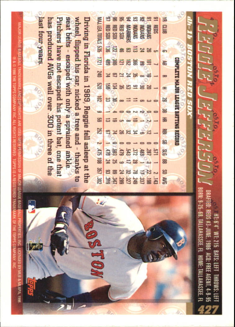 1998 Topps #427 Reggie Jefferson back image