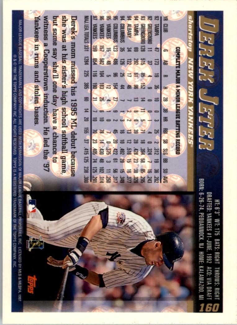 1998 Topps Inaugural Devil Rays #160 Derek Jeter back image