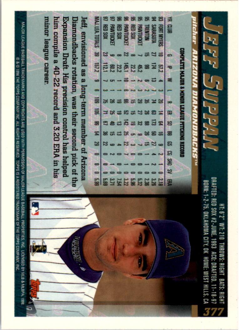 1998 Topps Inaugural Diamondbacks #377 Jeff Suppan back image