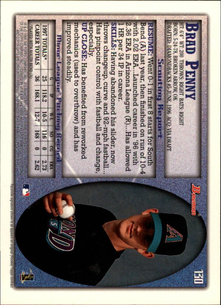 1998 Bowman #130 Brad Penny back image