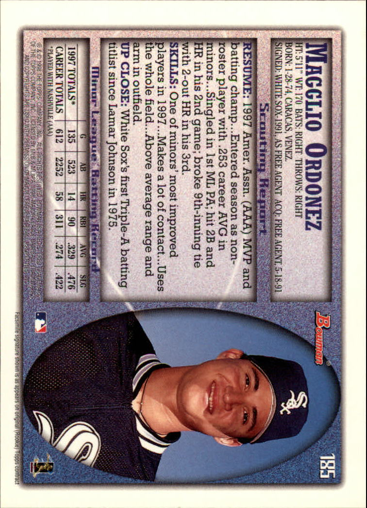 1998 Bowman #185 Magglio Ordonez UER RC back image